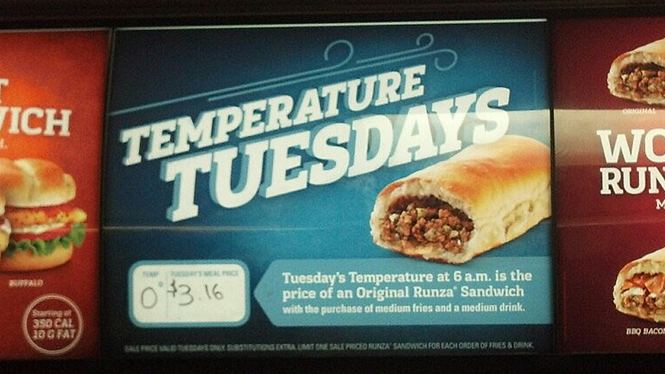 Temperature Tuesday sign
